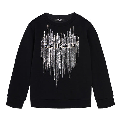 Black & Sliver Embellished Sweat Top