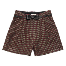 Load image into Gallery viewer, Monnalisa Sale Red & Gold Jacquard Shorts