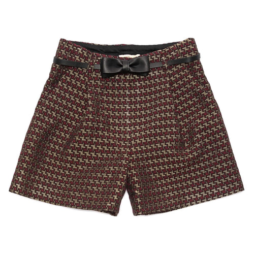 Monnalisa Sale Red & Gold Jacquard Shorts
