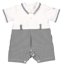 Load image into Gallery viewer, White & Navy Stripe Shortie