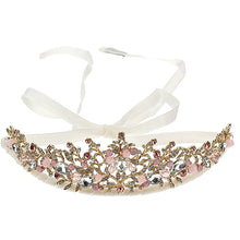 Load image into Gallery viewer, Gold & Pink Diamanté Tiara