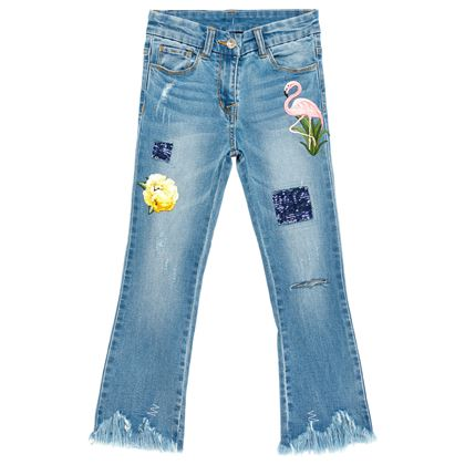 Monnalisa Sale Jakioo Denim Patch Jeans