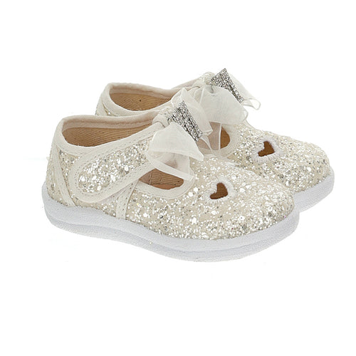 White Glitter Bow Shoe