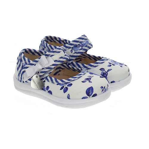 White & Blue Rose Shoe