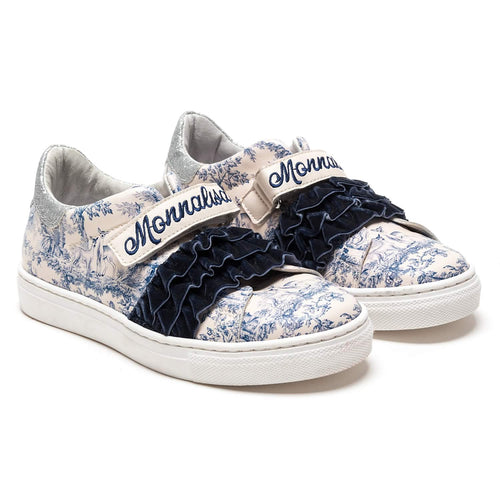 Monnalisa Sale White & Blue Woodland Trainers