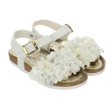 Load image into Gallery viewer, White Glitter Flower Petal Sandal