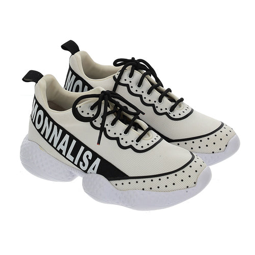 White & Black Logo Trainers