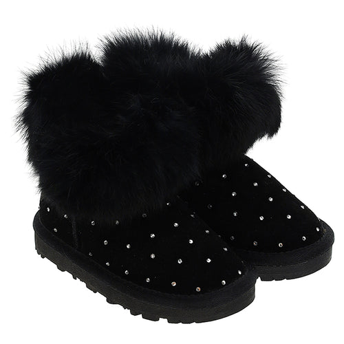 Black Diamante Fur Boots