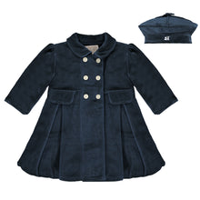 Load image into Gallery viewer, Navy Velour Coat & Beret
