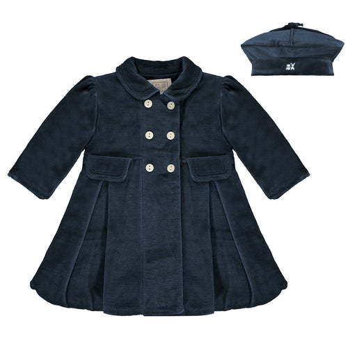 Navy Velour Coat & Beret