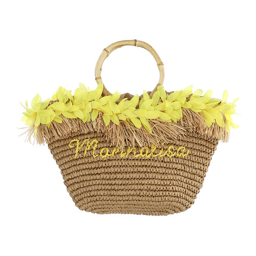 Yellow Petal & Straw Beach Bag