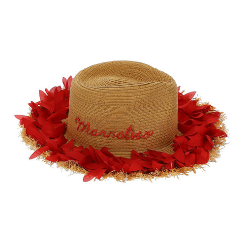 Straw & Red Petal Hat