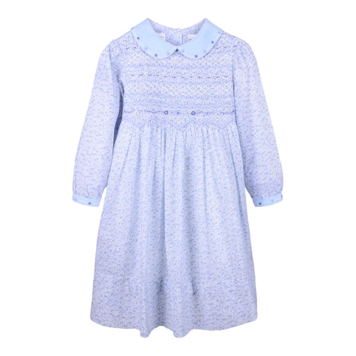 Blue Floral Smocked Dress