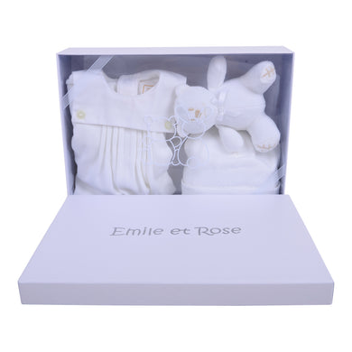 White Babygrow, Hat & Teddy Gift Set