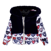 Load image into Gallery viewer, Byblos SALE White & Navy Heart Zip Up Jacket