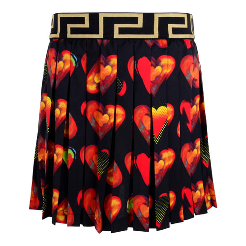 Young Versace Girls Sale Black Pleated Heart Skirt