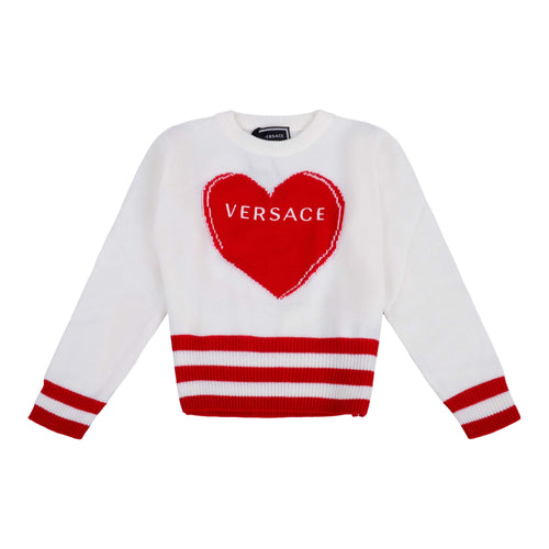 Young Versace Girls Sale Ivory Knitted Heart Jumper
