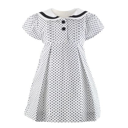 White  & Navy Polka Dot Dress & Bloomers