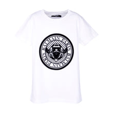 Load image into Gallery viewer, White & Black Velvet Crest T-Shirt