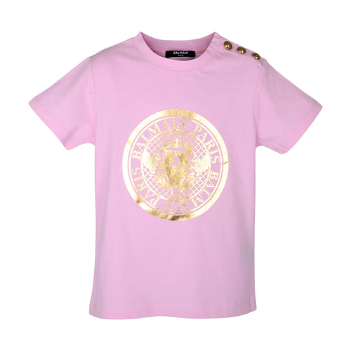 Pink & Gold Logo T-Shirt with Buttons