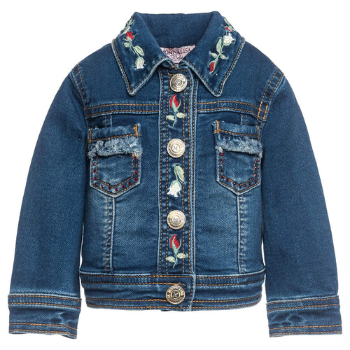 Monnalisa Sale Embroidered Denim Jacket