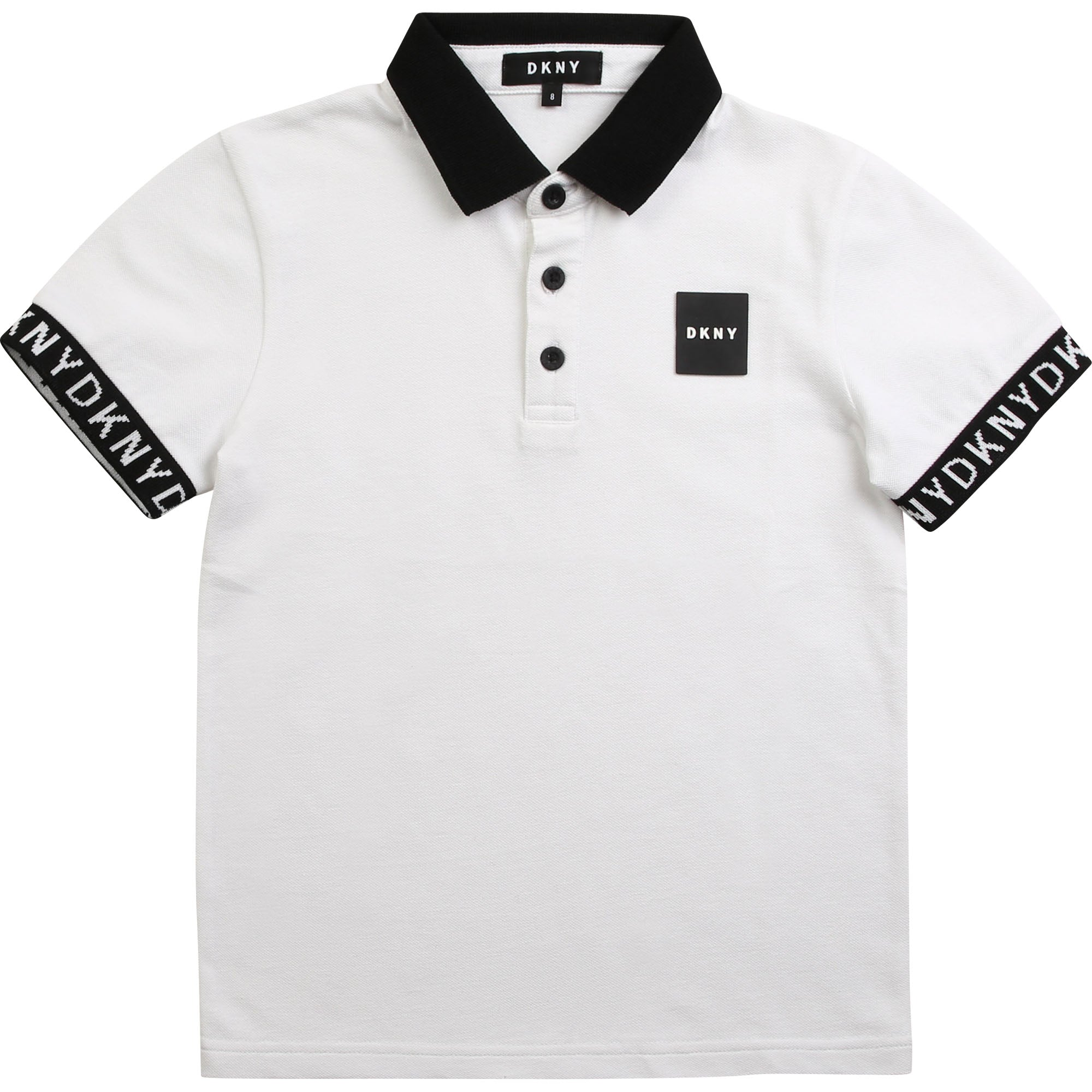 White Tape Sleeved Polo Shirt