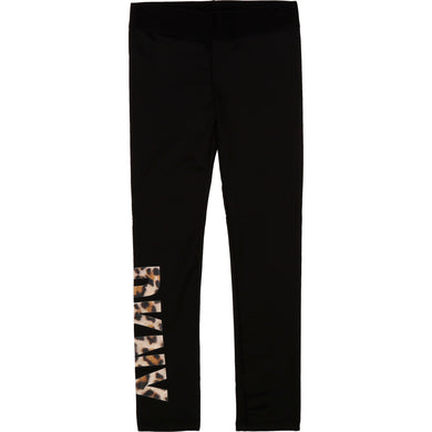 Black Lycra Leopard Print Leggings