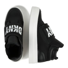 Load image into Gallery viewer, Black Logo High Top Trainers