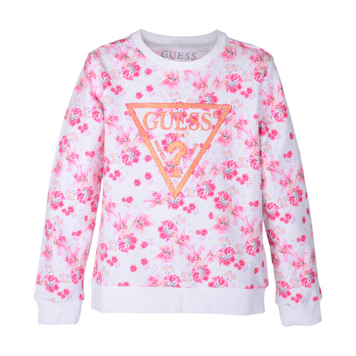 White & Pink Floral Sweat Top