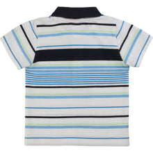 Load image into Gallery viewer, White & Blue Stripe Polo Shirt