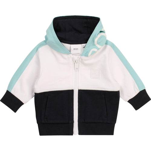 Turquoise, White & Navy Zip Up Hoodie