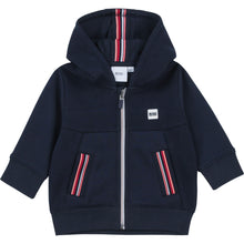 Load image into Gallery viewer, Navy Neon Stripe Zip Up Hoodie