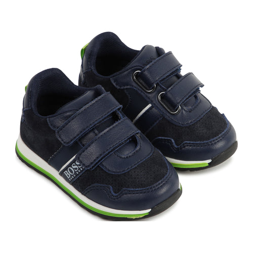 Boys Navy Leather Trainer