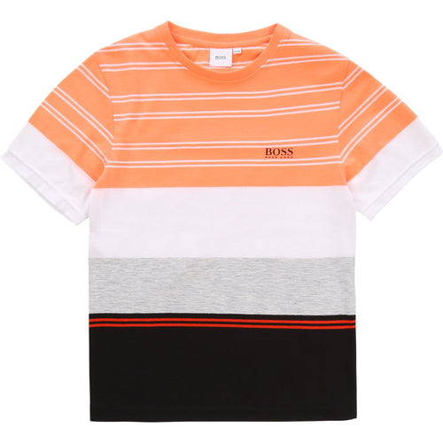 Neon Orange Striped T-Shirt