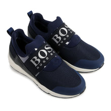 Load image into Gallery viewer, Navy Mesh Boss Trainers