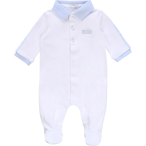 White & Blue Tape Logo Babygrow
