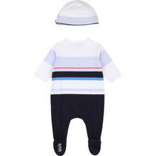 Load image into Gallery viewer, White & Navy Babygrow & Hat Gift Set