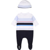 White & Navy Babygrow & Hat Gift Set