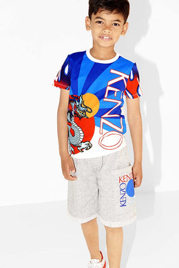 KENZO Boys Blue & White Large Dragon T-Shirt