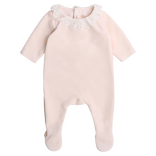 Load image into Gallery viewer, Pale Pink Velour Babygrow