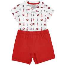 Load image into Gallery viewer, 2 Piece White & Red Sailor Outfit