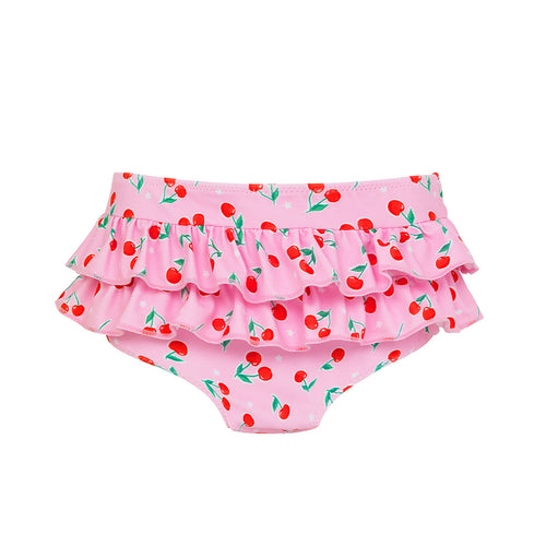 Pink Baby Cherries Frill Nappy Pant