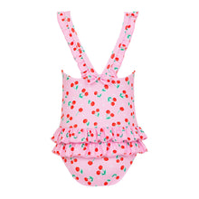 Load image into Gallery viewer, Pink Cherries Baby Frill Swimsuit
