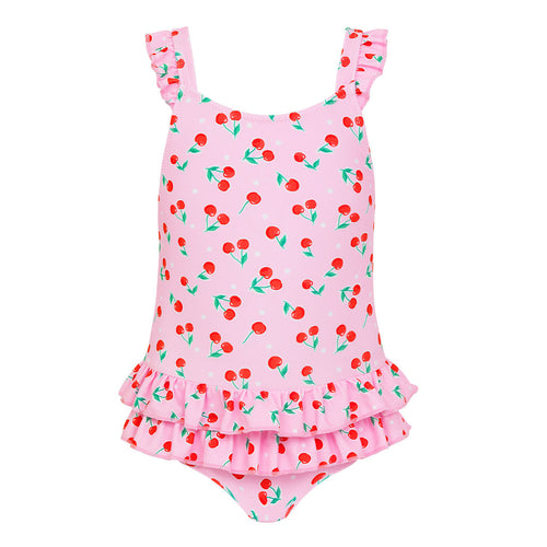 Pink Cherries Baby Frill Swimsuit