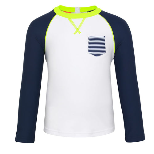 White and Navy Baby Long Sleeved Rash Vest