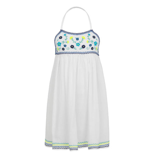 White & Blue Embroidered Dress