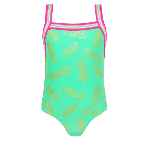Aqua Green & Gold Glitter Pineapple Swimsuit