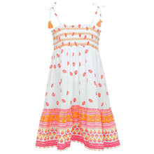 Load image into Gallery viewer, White, Pink & Orange Bell Dress