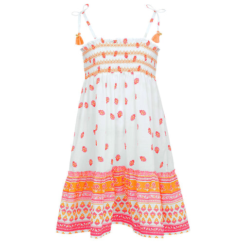 White, Pink & Orange Bell Dress