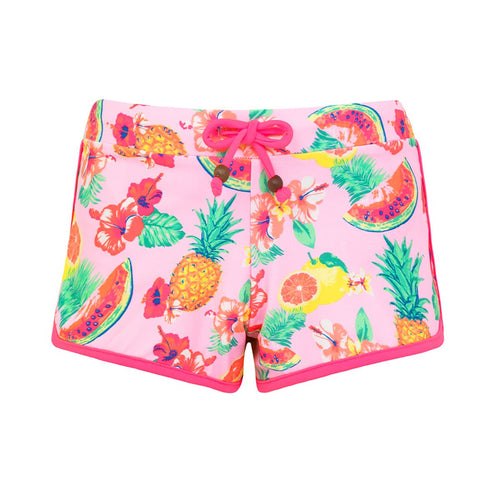 Pink Tropical Printed Swim-shorts